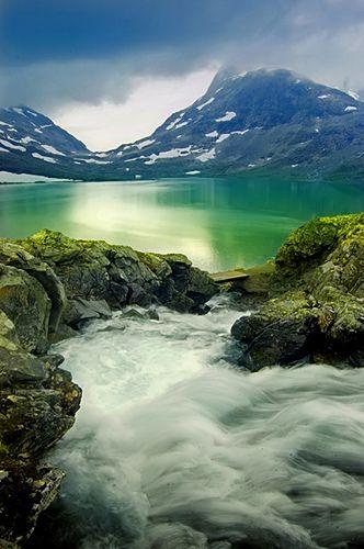 Emerald   Glacier lake. Jotunheim, Norway