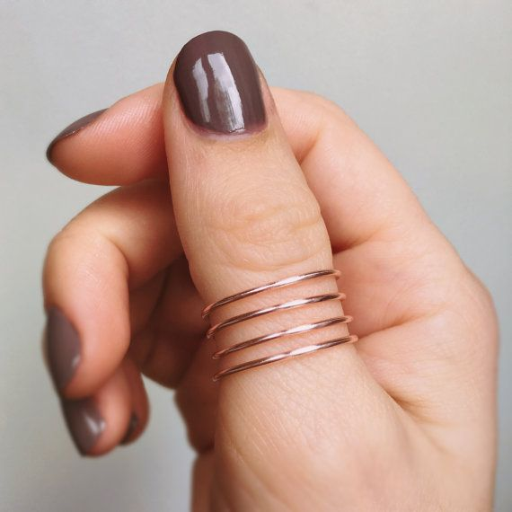 Featured #etsy Seller: Rose Gold Thumb Ring, Twist thumb ring, Rose gold ring, Swirl thumb ring, Adjustable wire ring, Plain… #jewellery