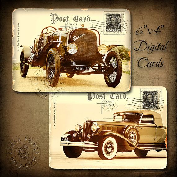 Vintage Car  6x4 Printable Cards CP200 for by CobraPrints on Etsy, $2.50…