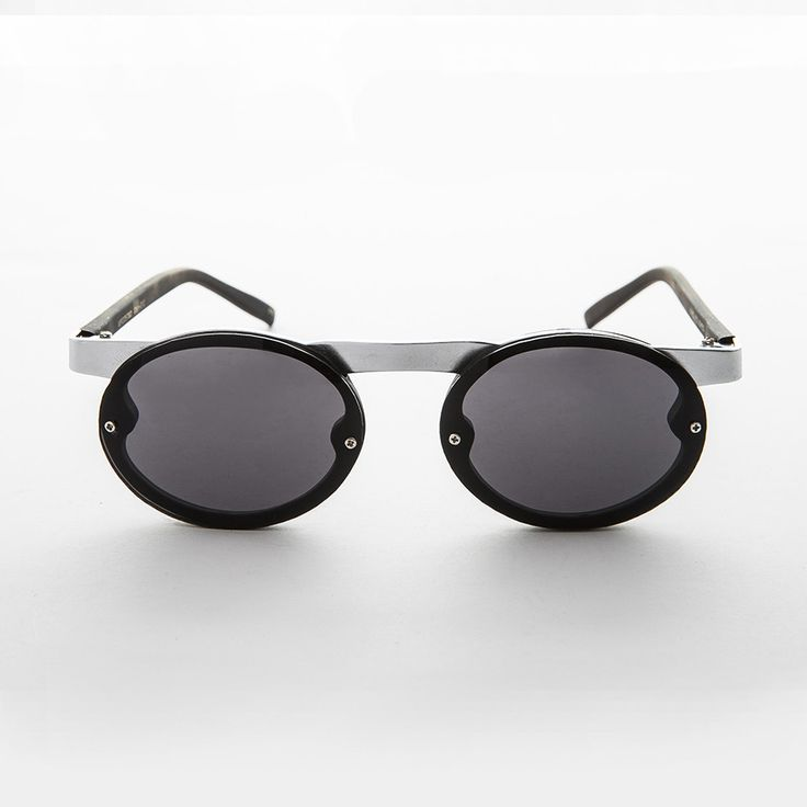 90s Oval Goth Steampunk Sunglass with Floating Browline NOS -OSWALD