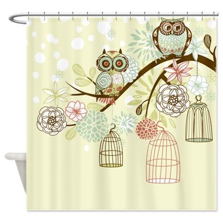 Owls On Branches Yellow Shower Curtain