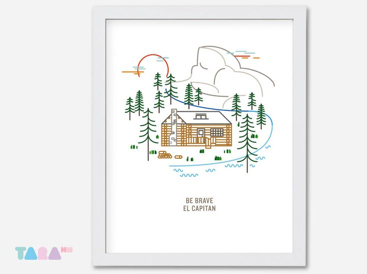 Printable Wall Art, Home Decoration, Digital Print, Children Room Decoration, Illustration Poster, Instant Download, el capitan yosemite art by TaraHandmade on Etsy