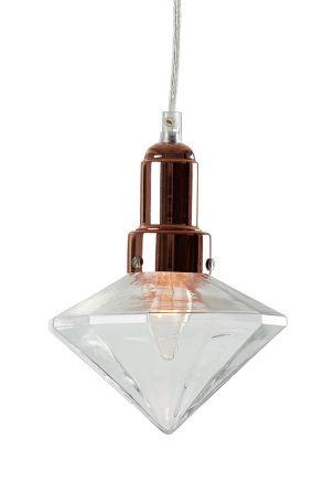 i kopparfärgad metall och klarglas. Mått: diameter 17 höjd 27 cm.Transparent sladd, 1,2 m. E14. Max 25W. Ellos 399 kr