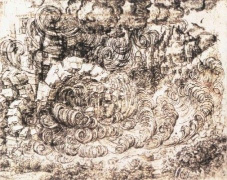 Leonardo da Vinci: tanulmányrajz az özönvíz sorozatból, természeti katasztrófa, 1517-1518, Windsor, Royal Library, 162 x 203 mm, fekete kréta, toll és tinta, papír.