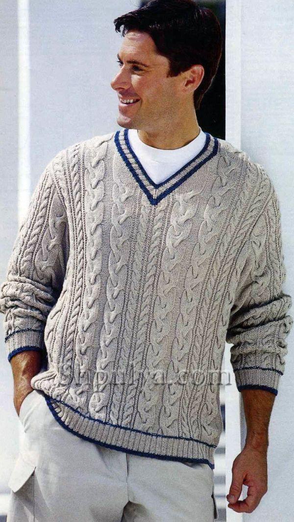 """Белый пуловер с узором """"косы"""", вязаный спицами"""