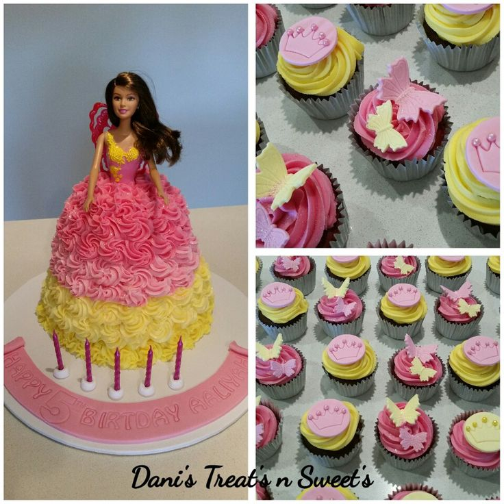 Barbie doll ombre cake and cupcakes