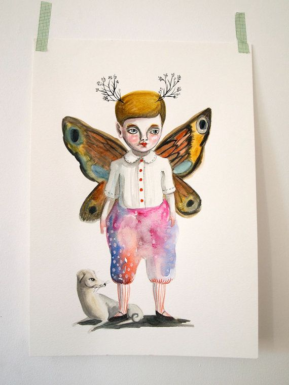 Original painting watercolour and gouache Butterfly boy