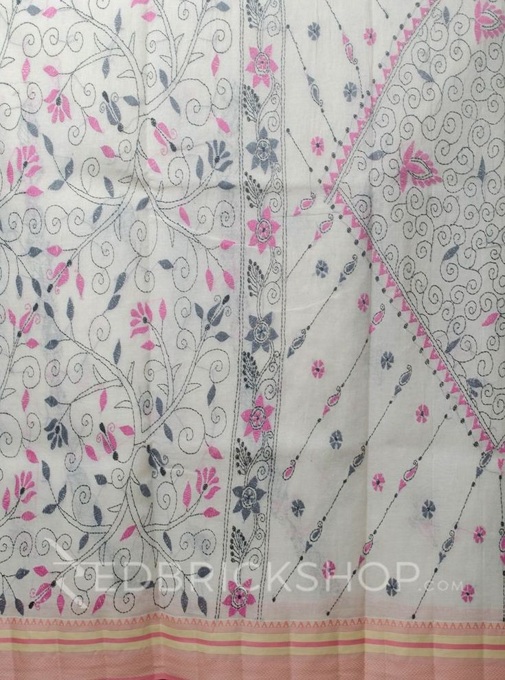 KANTHA FLORAL OFF WHITE-PINK COTTON SAREE     Rs 2971