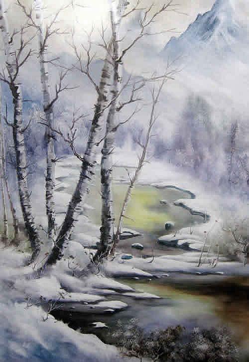 Chinese Art Winter Landscape Christmas Snow