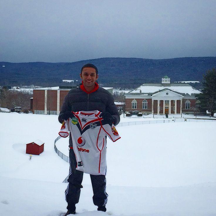Kishan Naran with his Vodafone Warriors jersey at Northfield Mount Hermon School in Mount Hermon, MA #WarriorsForever