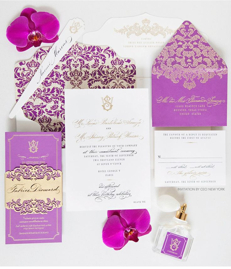 Luxury Wedding Invitations by Ceci New York - Our Muse - Paris Luxury Wedding - Be inspired by Lucas and Thierry's luxurious Paris wedding set in shades of elegant purple and gold - Ceci New York Luxury Wedding Invitations - ceci new york, invitation, save-the-date, luxury invitations, purple, black, gold, letterpress printing, foil stamping, laser-cut, custom envelope liner, hand calligraphy