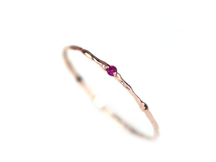 Ruby Ring, Natural Ruby Branch Ring, 14k Gold