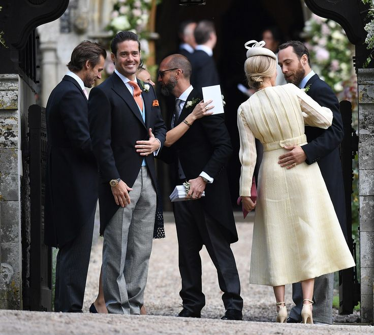 ENGLEFIELD GREEN, ENGLAND - MAY 20:  Spencer Matthews brother of James Matthews (L) as Donna Air is welcomed to  the wedding of Pippa Middleton and James Matthews at St Mark's Church on May 20, 2017 in Englefield Green, England.  (Photo by Samir Hussein/Samir Hussein/WireImage) via @AOL_Lifestyle Read more: https://www.aol.com/article/entertainment/2017/05/20/pippa-middleton-marries-james-matthews-in-breathtaking-ceremony/22100629/?a_dgi=aolshare_pinterest#fullscreen
