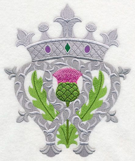 LUCKENBOOTH SCOTTISH LOVE Token Ornate Crowned Thistle Celtic Gaelic Symbol Machine Embroidered Quilt Block, Panel