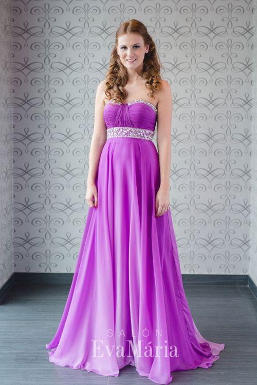 Fialové dúhové spoločenské šaty na reprezentačný ples
