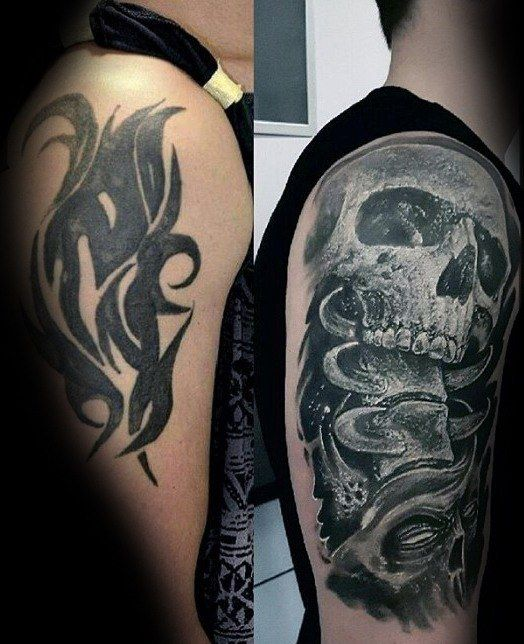 Before And After Mens Cover Up Skull Arm Tattoo Ideas