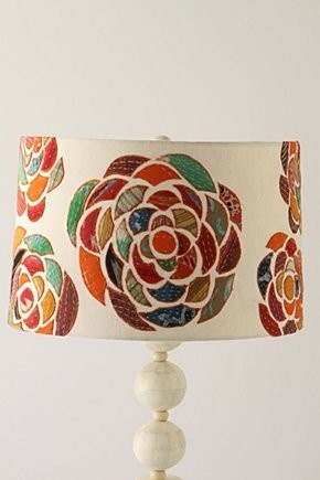 This lamp is from Anthropologie. I love it!! The pattern for the flowers is on this website.