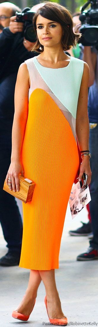 Style Inspiration: Miroslava Duma – Fashion Style Magazine - Neon Orange Midi Dress
