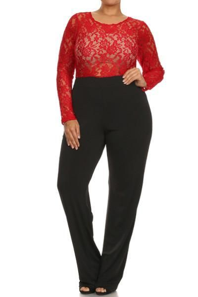 Plus Size See Through Floral Lace Jumpsuit