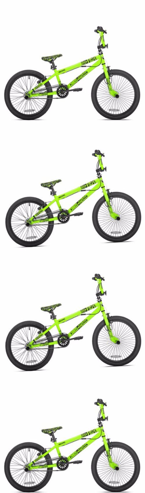 bicycles: 20 Boys Bmx Neon Green Bike Single Speed Bicycle Steel Frame Freestyle Ride BUY IT NOW ONLY: $92.82