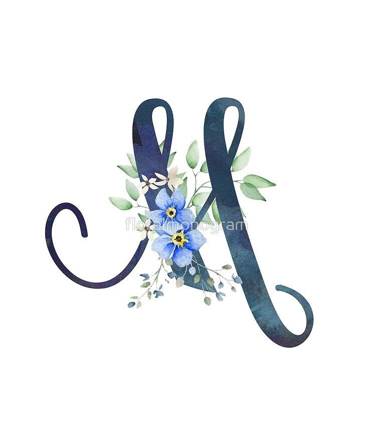 Monogram M Wild Blue Flowers By Floralmonogram Floral
