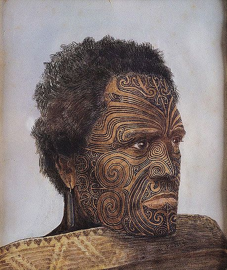 Ta moko, examples of indigenous Maori tattoos. Theme: Cultural signs and patterns. Idea from: Paterson J. et. al. 2017 IB Visual Arts Course Companion Oxford O.U.P.