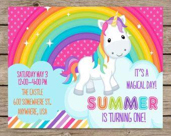 Rainbow Unicorn Invitation Invite Kids Birthday Girl PRINTABLE / PRINTED Rainbow Unicorn Party Princess Pony Party First Birthday