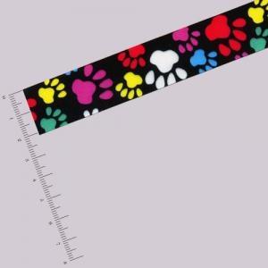Ruban 22 mm - Pattes multicolores - Noir x 2,7 m