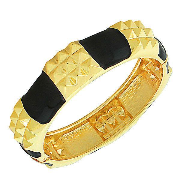 Fashion Yellow Gold-Tone Black Enamel Spikes Womens Bangle Bracelet With Clasp