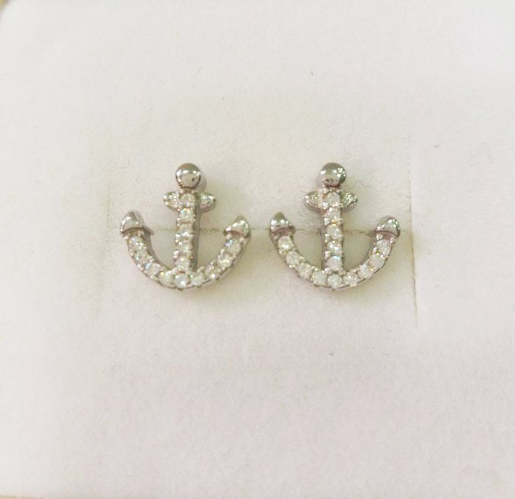 Anchor Earrings With White Zircon Nautical Stud Earrings Women Tiny Earrings Bridal Bridesmaid Gift Sterling Silver White Gold Plated K18 by JunisJewls on Etsy