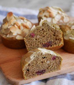 Muffins thé matcha cranberries et amandes - Comment j'ai changé de vie