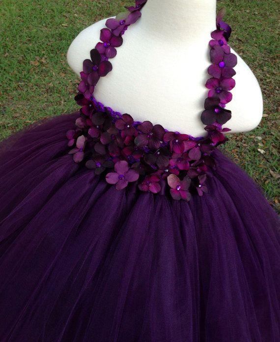 Purple eggplant plum hydrangea dress - flowers on entire bodice & flower straps by MissSweetPeaBoutique, $100.00.