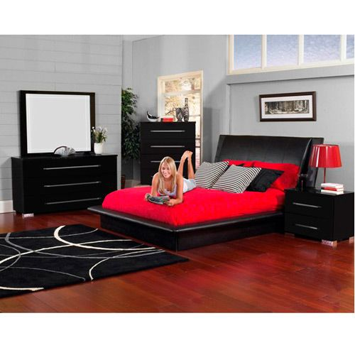 Amore Bedroom Group: Italian polyester finish low profile bed ...
