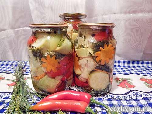 Маринованная цветная капуста с кабачками на зиму