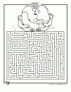 Earth Day free printable worksheets, including mazes and coloring pages, for elementary school students