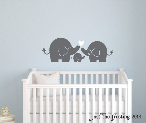 Elephant Family Wall Decal, Nursery Elephant Decal by Just The Frosting Vinyl Decor, $12.00