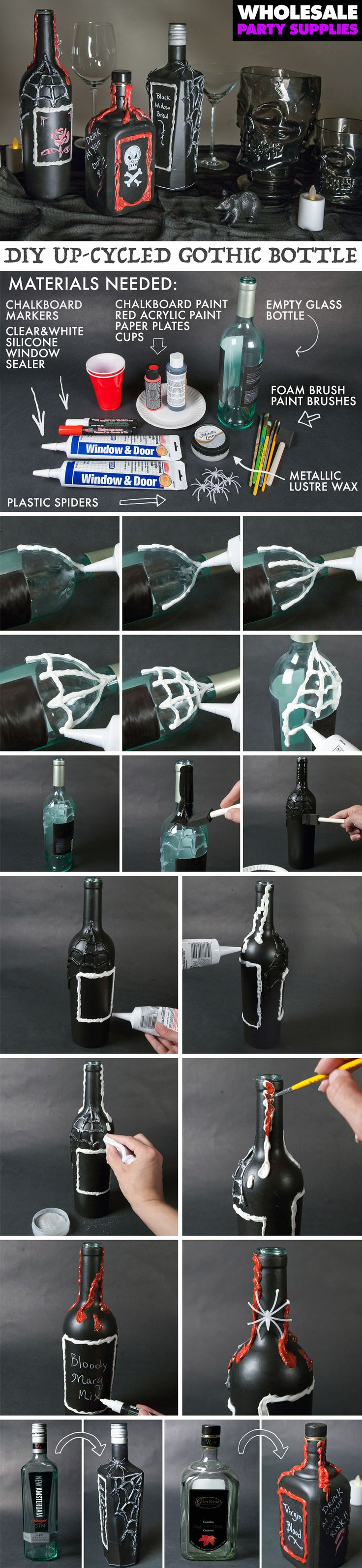 Turn your old bottles into Gothic decorations for Halloween with our step-by-step tutorial.