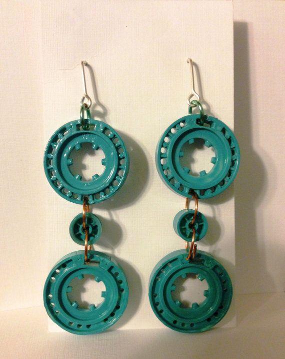 Turquoise Girl - Cassette Dangle Earrings - #upcycle