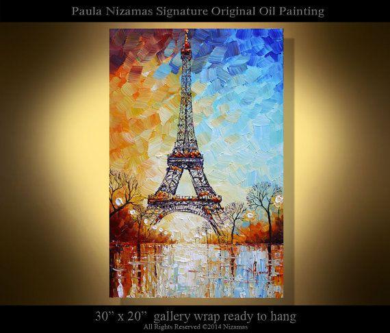 Eiffel Tower PALETTE KNIFE texture Oil landscape Painting ...  Eiffel Tower Painting Landscape