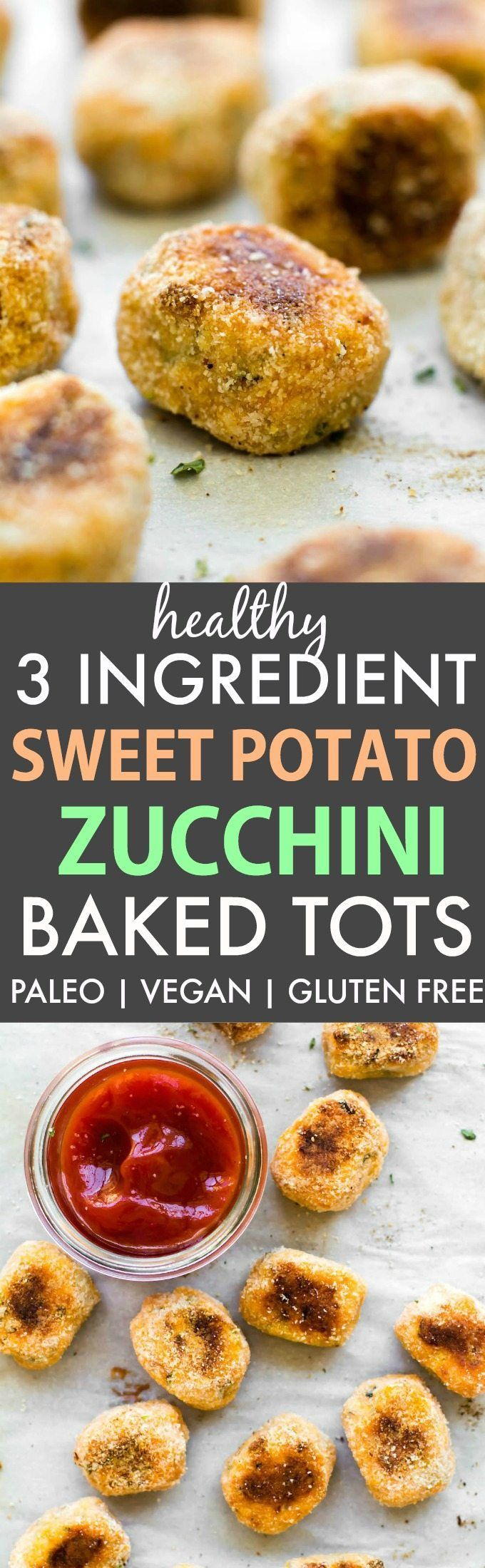 Healthy 3 Ingredient Baked Sweet Potato Zucchini Tots (Paleo, Vegan, Gluten Free)- Easy, oil-free and crispy baked tots loaded with veggies!