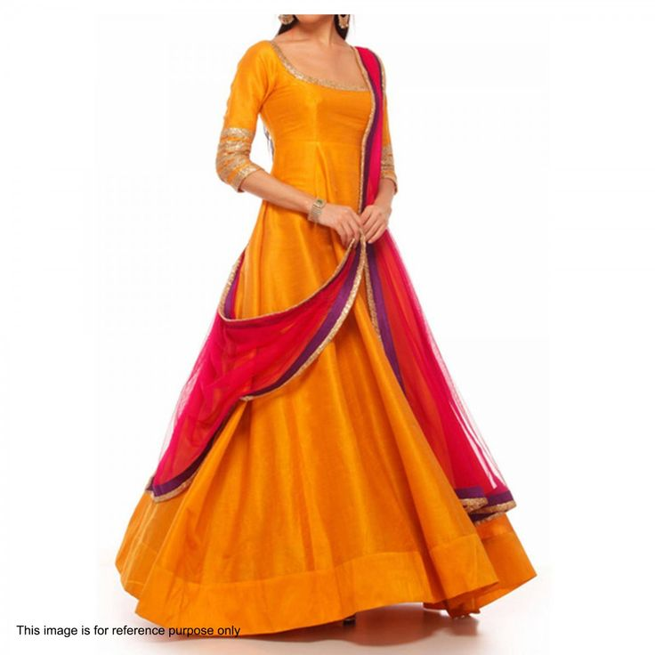 Buy Orange Anarkali Style Kameez with Dupatta for womens online India, Best Prices, Reviews - Peachmode