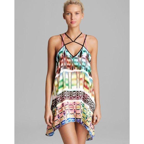 MILLY Neon Ikat Print Beliz Criss-Cross Swim Cover Up Dress