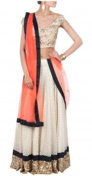 ATSU Orange and cream lehenga with sequinned border