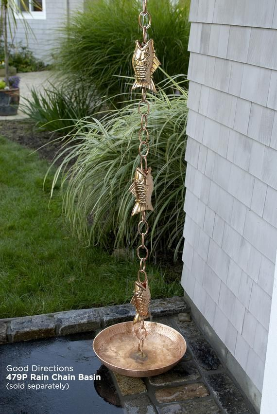 Fish Pure Copper 8 5 Ft Rain Chain With Gutter Clip Copper Rain Chains Rain Chain Downspout