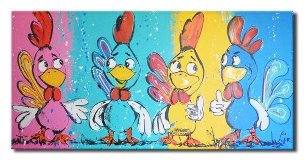 Schilderij Funny kippen van Liz