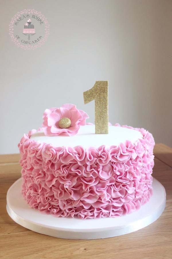 pink ruffles 1st birthday cake  by Sara's House of Cupcakes