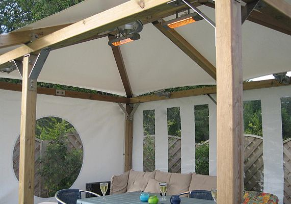 Add gazebo heating and lighting to your white pavilion for Heated gazebo