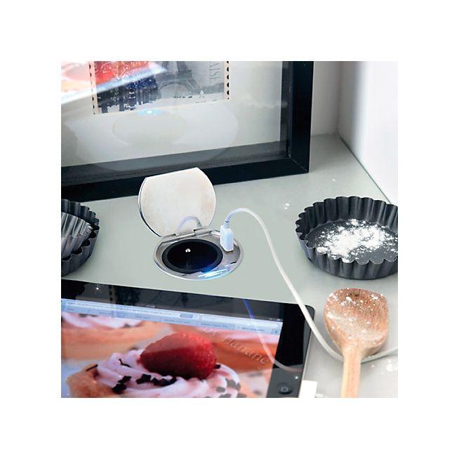 Connect Bloc prise affleurant avec port USB et veilleuse LED