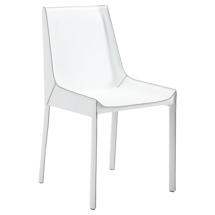 Elegant Exposed Seam Recycled Leather Dining Chair (Set of 2) - White - ZM Home