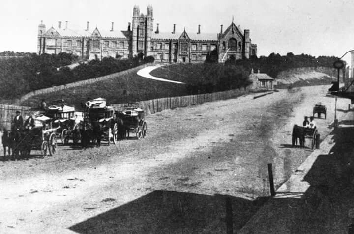 The University of Sydney in 1870. This dirt track is now call Parramatta Road. v@e